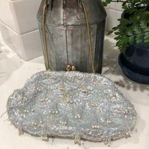 Vintage 1940-1950 beaded purse blue hand made